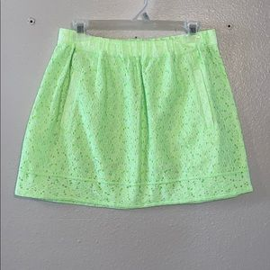 J.Crew neon green floral patterned skirt.